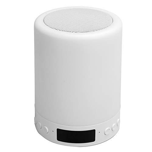 Altavoz Bluetooth con luz nocturna, luz de noche LED de escritorio portátil, altavoces inalámbricos con Bluetooth, control táctil de 7 colores, lámpara de mesa LED para escritorio, altavoz, para dormi