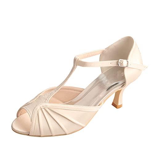 Zapatos De Novia Satén para Mujer Correa En T Sandalias De Tacón...