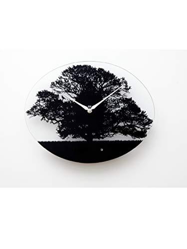 KOOKOO Tree Quarz, moderne Singvogeluhr aus Glas, mit 12 heimischen Vogelstimmen oder Kuckuck
