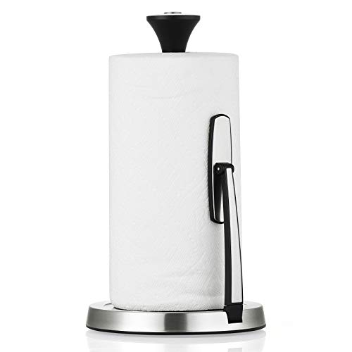 Paper Towel Holder Countertop, Lycklig Tension Arm Kitchen Roll Dispenser Stainless Steel Paper Towel Holder Stand with Weighted Base, Ideal for...