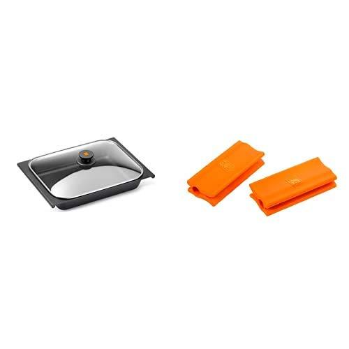 BRA Bandeja Rustidera, Negro, 41 Cm + isogona_A284008 Efficient - Asas De Silicona, 2 Unidades, Medida Plancha Asador Liso, Para Efficient Con Diámetro De 35-45 Cm, Color Naranja
