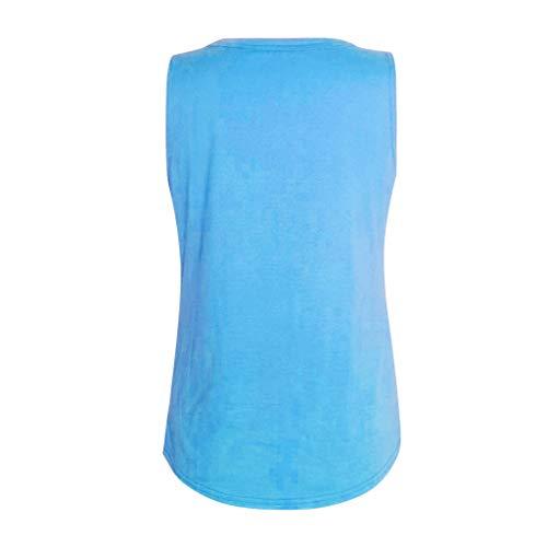 Janly - Chaleco sin mangas para mujer con cuello en V, suelto, informal, sin mangas, estilo informal, para mujer, color azul (L)