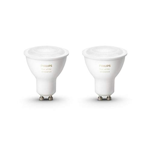 Philips Hue White Ambiance Paquete de 2 Bombillas Led Inteligentes, blanco