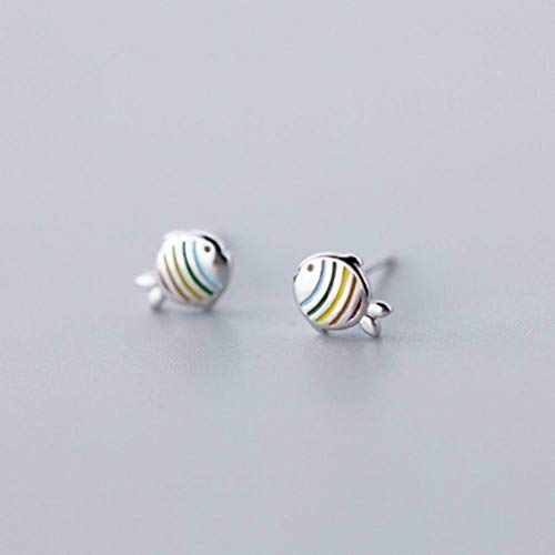 K-Earing S925 Pendientes de Plata Pendientes Femeninos Lindos Frescos Coloridos Peces Arcoiris Dulces, Plata