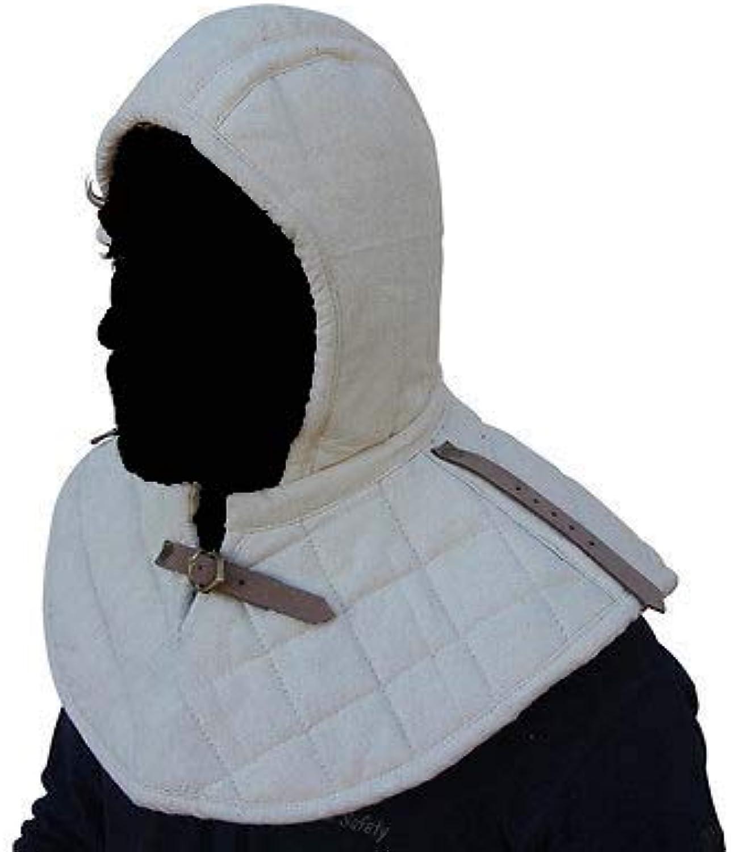 Nasir ALI Medieval Renaissance Armor Padded Arming Cap Collar Head Neck Cotton SCA