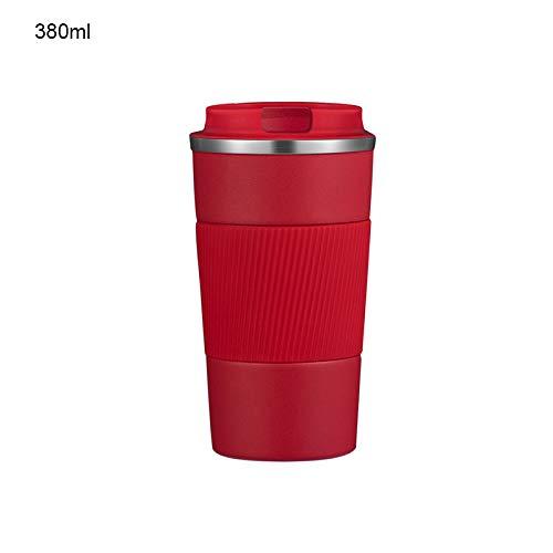 YAKAMA Termo, taza café aislada, pistón vacío acero inoxidable, aislamiento al vacío, antideslizante, en coche, en casa, en la oficina, portátil, se puede utilizar café, té y cerveza (rojo, 380 ml)