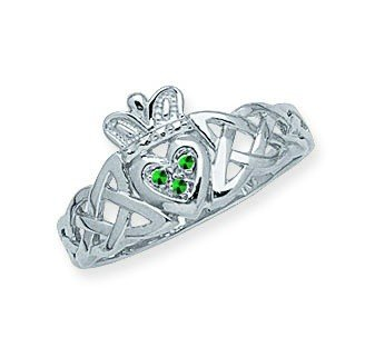 14ct White Gold Braided Irish Claddagh Celtic Trinity Knot Ring With Simulated Stone Size N 1/2 Jewelry Gifts for Women