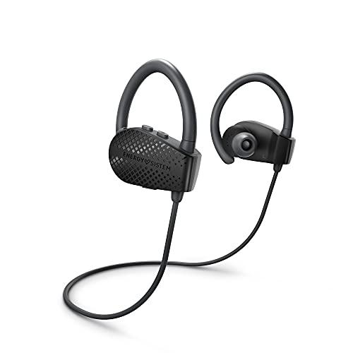 Energy Sistem Earphones Bluetooth Sport 1+ Dark (Bluetooth 5.1, Control por Voz Voice Assistant, Sistema de sujeción Secure-fit, Resistentes al Sudor)-Negro