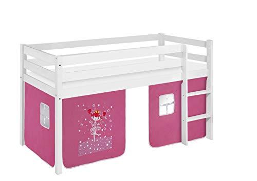 Lilokids Spielbett Jelle Zauberfee, Hochbett mit Vorhang Kinderbett, Holz, weiß, 198 x 98 x 113 cm