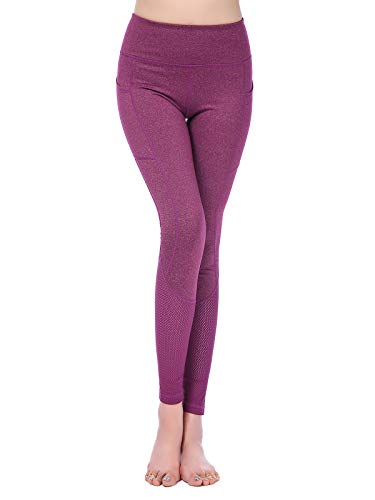 MUMUWU - Mallas de Yoga para Mujer, Cintura Alta, Control de Barriga, Gimnasio, Deportes, Entrenamiento, Pantalones de compresión - Rosa - M (US 8-10)