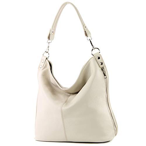 modamoda de bolsos de las mujeres/comprador Ital-damas-hombro bag-in-cuero-T177, Color:crema