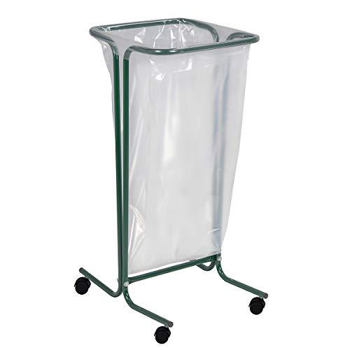 Rossignol Tubag vuilniszakhouder 110L op wielen van staal in 4 kleuren verkrijgbaar groen
