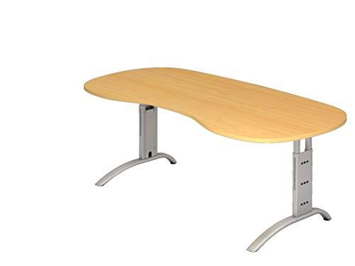 Nierenförmiger Schreibtisch DR-Büro - Maße 200 x 100 cm - Gestell Silber - höheneinstellbar 65-85 cm - Bürotisch in 7 Farbvarianten - Kabelwanne, Farbe Büromöbel:Buche