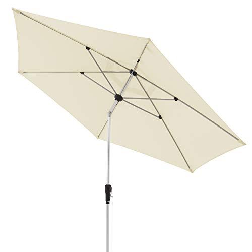 doppler Aluminium Sonnenschirm SL-AZ 330 - Knickbarer Sonnenschutz für Balkon oder Terrasse - ca. 330 cm - Natur