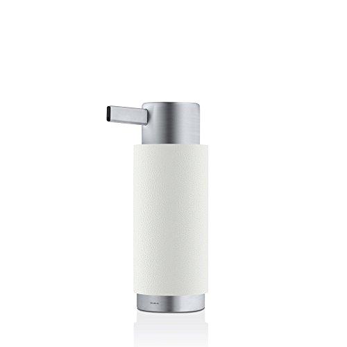 blomus -ARA- Seifenspender aus Polystone / Edelstahl, zeitloses Weiß, Seifendosierer in edler Optik, hochwertige Verarbeitung, exklusives Badaccessoire (H / B / T: 17 x 6 x 8 cm, Farbe: Weiß, 68851)