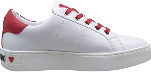 Love Moschino SCARPAD.CASSETTA35 Vit.Bianco+Rosso, Sneaker Donna, Multicolore (White Calf Red 10C), 38 EU