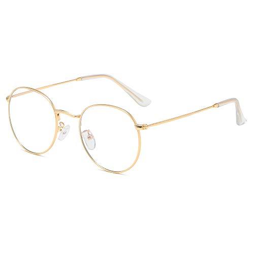 Blaulichtfilter Brille Ohne Stärke Anti-Müdigkeit UV-Schutz Computerbrille Retro Rund Metallgestell Brillenfassung mit Brillenetuis