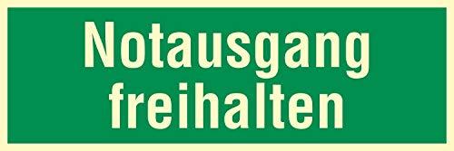 Notausgang freihalten Fluchtwegschild Rettungswegschild Aufkleber Nachleuchtend ASR A1.3