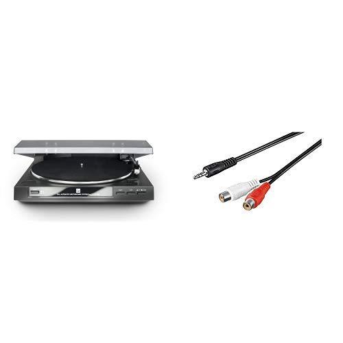 Dual DT 210 USB Schallplattenspieler (USB-Anschluss, 33/45 U/min) schwarz & 1.5m 2x Cinch Kupplung auf 3.5mm stereo Klinkenstecker