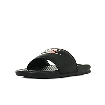 Nike Women's Benassi Just Do It Sandal, Black/Rose Gold, 9 Regular US