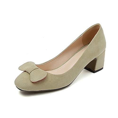 Frauen Square Toe High Heels Frühling Herbst Shallow Courts Schuhe Block Heel Slip auf Bowknot Office Career Pumps