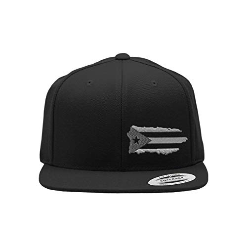 Snapback Flat Bill Left Side Panel Puerto Rico Island Map Flag A Embroidery Hats for Men & Women Acrylic Black