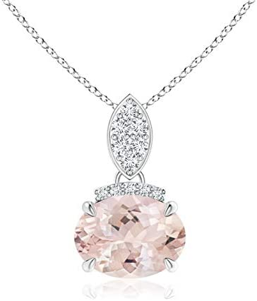 East-West Fees free!! Morganite Pendant with Challenge the lowest price Bale 8x6mm Diamond