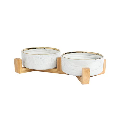 ciotole per cani,Ciotola per gatti Ciotola per animali domestici in ceramica, Ciotola per animali domestici con protezione per il collo-Ciotola doppia con bordo oro grigio + Cornice in legno media