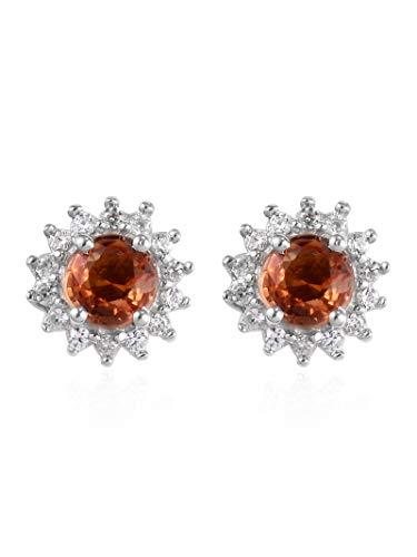 D'Joy Pendientes redondos de plata de ley 925 con zafiro naranja para mujer