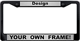 Custom Personalized Black Plastic Car License Plate Frame with Free caps - Silver/Black