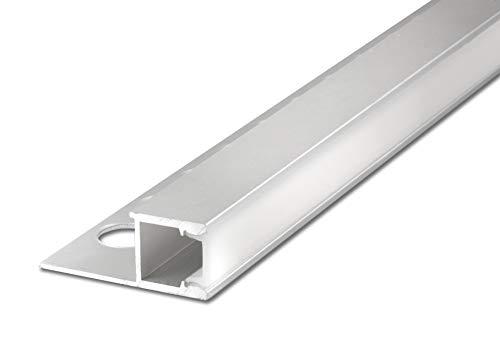 2 m FUCHS LED Profil 12 mm Quadratprofil seitlich leuchtend LED Leiste für LED Streifen, Aluminium eloxiert Silber rostfrei inkl. Abdeckung (milchig weiss) zur gleichmäßigen Lichtstreuung