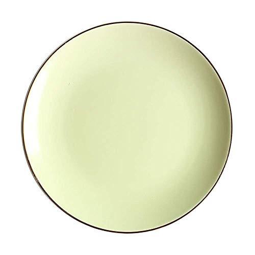 XUSHEN-HU Ceramic Ceramic Scrub Western Plate Fruit Plate Gold Side Plate Shallow Dish Nordic Creative Tableware Green 10 Inch Vintage