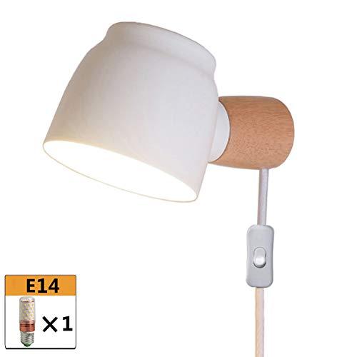 Moderne Holz Wandleuchte Schwenkbar Schlafzimmer Nachttischlampe mit Schalter, Bettlampe Wand-Leselampe mit Kabel und Stecker, Metall Lampenschirm, E14, für Wohnzimmer Studieren Büro,Weiß