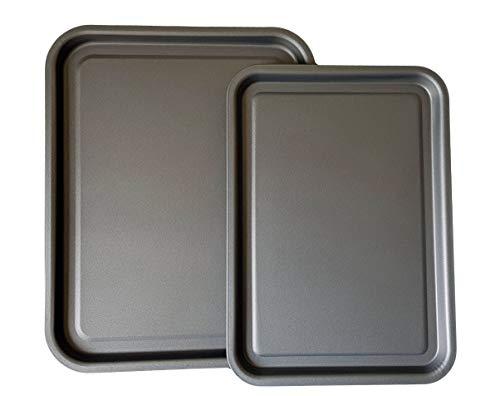 Kitcheneur® Essentials Lot de 2 plaques de cuisson antiadhésives 38 cm et 35 cm Passe au lave-vaisselle et facile à nettoyer