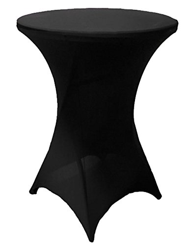 Antuen 24x43 Round Cocktail Table Cover Spandex Stretch Tablecloth Black