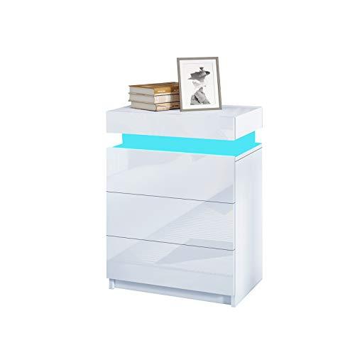 UNDRANDED LED Beleuchtung Nachttisch Schrank Hochglanz Front mit 3 Schubladen Nachtschrank Nachtkommode Ablagetisch für Schlafzimmer Wohnzimmer 45x35x67cm (Weiß)