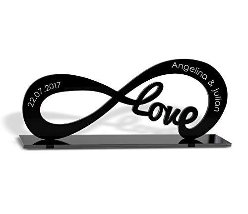 CHRISCK design Infinity Standfigur aus Acrylglas mit deiner Wunsch-Gravur und Love Geschenkidee für Paare Freunde