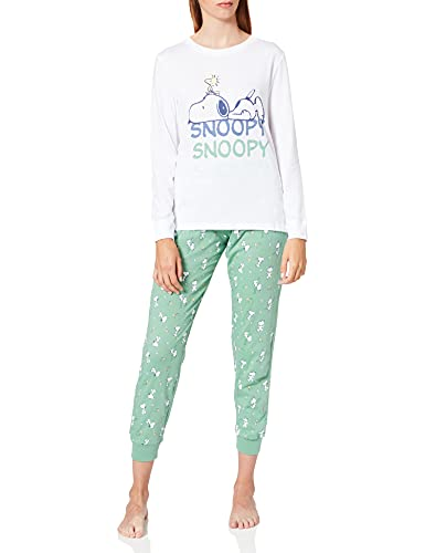 Women'secret, Pijama largo allover Snoopy para Mujer, Blanco, XS