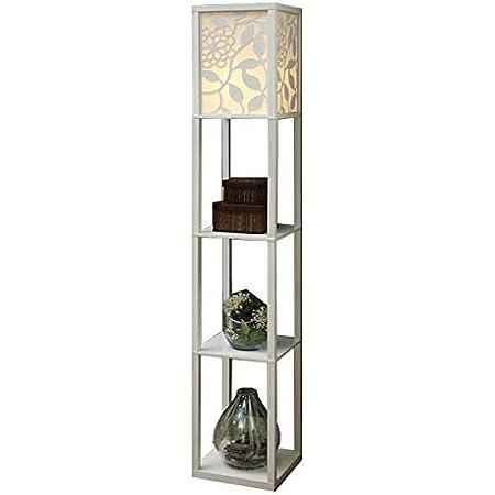 QIANGUANG® Lampadaire en bois de 1,6 m avec étagères pour chambre et salon (sans ampoule) (Nouveau Blanc)