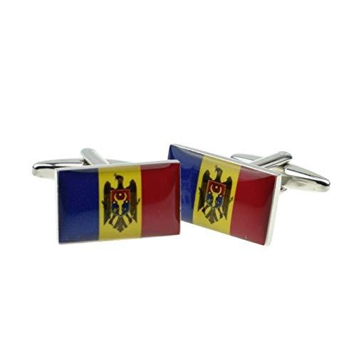 Moldavië vlag manchetknopen met geschenkdoos & verzonden uit het Verenigd Koninkrijk