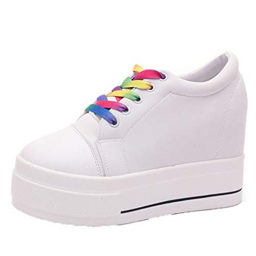 Zapatillas de cuña para Mujer, Zapatos con Cordones, Plataforma Informal, Zapatos de Lona de tacón Alto, Zapatos de Entrenamiento de Moda para Deportes al Aire Libre, Blanco y Negro