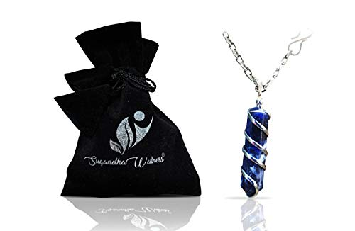 Natural Sodalite Crystal Healing Necklace - for Third Eye Chakra. Promotes Communication, Deepens Meditation, Instills Drive for Truth. Calms Anxiety, Enhances Self-Acceptance. with Stylish SS Chain