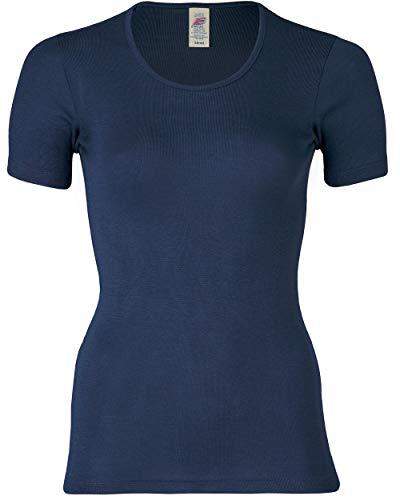 Engel Natur, Damen Unterhemd Kurzarm, 70% Wolle (kbT), 30% Seide (38/40, Marine)