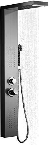Aufun Duschpaneel Edelstahl Duschsystem mit Regendusche, Wasserfalldusche, Massagedusche, Duschsäule Duschset mit Handbrause für Badewanne Badezimmer Duschbrause, Silber