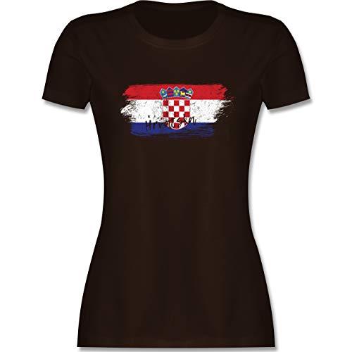 Fußball-Europameisterschaft 2020 - Kroatien Vintage - M - Braun - wm Trikot Kroatien 2018 - L191 - Tailliertes Tshirt für Damen und Frauen T-Shirt