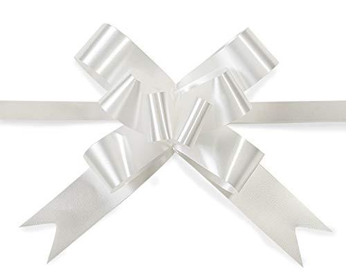 SHATCHI Grande fiocco da 30 mm/3 cm, per feste, confezioni regalo, alberi di Natale, matrimonio, compleanno, decorazione fiorista, bianco, 20pz, 12531