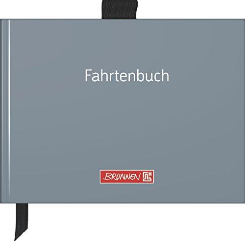 Brunnen 1010143 Fahrtenbuch (A6 quer, Hardcover mit Soft-Touch Laminierung, mit Stiftschlaufe, Zeichenband und Einstecktasche, fadengeheftet, 40 Blatt) grau
