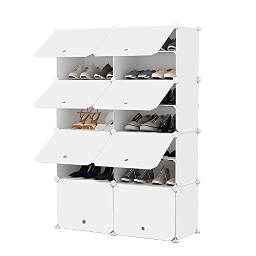 JOISCOPE Portable Shoe Storage Organzier Tower, Modular Cabinet Shelving for Space Saving,...