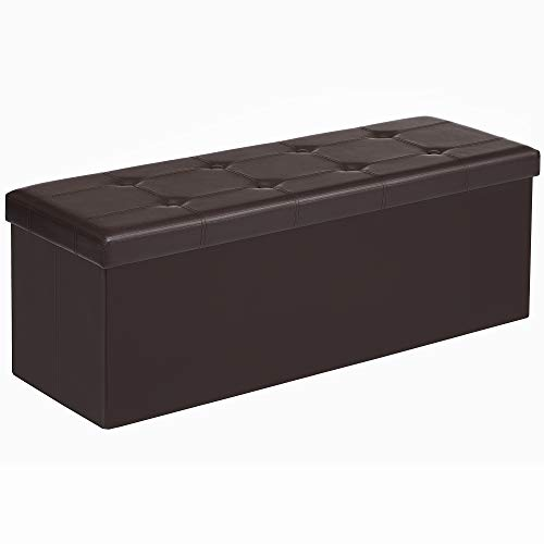 Songmics 43 Inches Folding Ottoman Bench, Storage Chest Footrest Padded Seat, Faux Leather, Brown