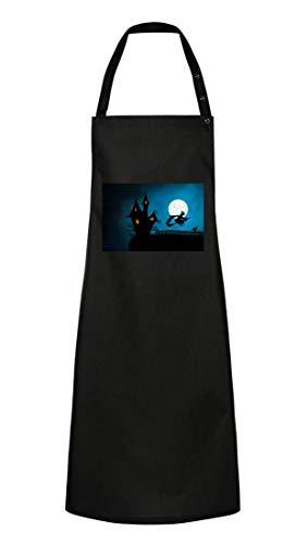 Kochschürze - Halloween Hexenhaus Hexe Besenstiel - Grillschürze Unisex für Damen und Herren